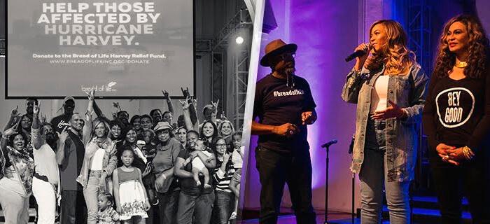 Beyoncé regresa con lágrimas a iglesia de Houston para ayudar a víctimas de Harvey