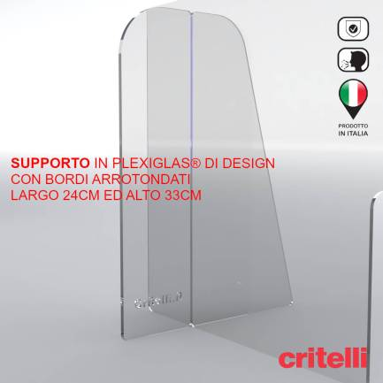 Elegante supporto in plexiglas con bordi arrotondati