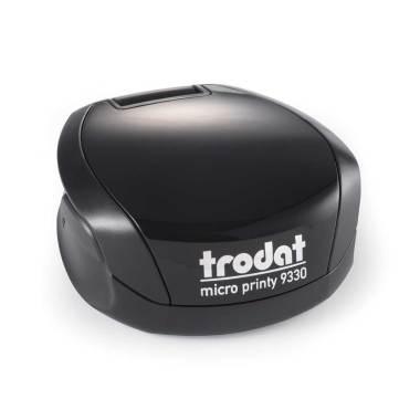 Timbro Autoinchiostrante Tascabile Trodat Micro Printy 9330 compreso di Impronta Laser in Gomma Rotonda D 30 mm nero nero
