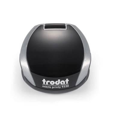 Timbro Autoinchiostrante Tascabile Trodat Micro Printy 9330 compreso di Impronta Laser in Gomma Rotonda D 30 mm silver