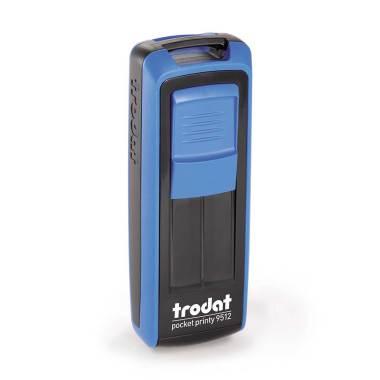 Timbro Autoinchiostrante Tascabile Trodat Pocket Printy 9512 Nero-Blu compreso di Impronta Laser in Gomma 47 x 18 mm