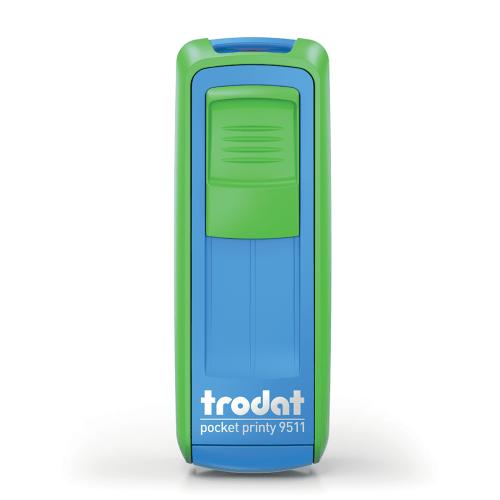 Timbro autoinchiostrante tascabila da viaggio trodat pocket printy 9511 verde blu