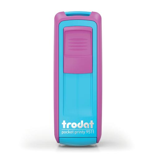 Timbro autoinchiostrante tascabila da viaggio trodat pocket printy 9511 viola azzurro