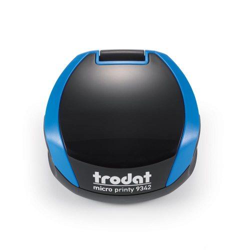TRODAT PRINTY 9342 Timbro Autoinchiostrante Rotondo Eco Nero - Blu Cielo Diametro Ø 42 mm Testo a 5 righe con Cartuccia Nera
