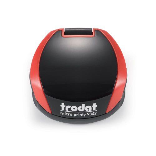 TRODAT PRINTY 9342 Timbro Autoinchiostrante Rotondo Eco Nero - Rosso Fuoco Diametro Ø 42 mm Testo a 5 righe con Cartuccia Nera