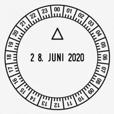Trodat Classic 2910U24 Timbro Datario con Data Italiana e piastra di testo personalizzata tonda diametro 50 mm