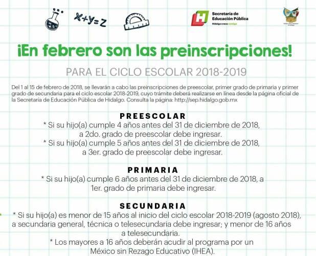 Preinscripciones 2018-2019 al nivel básico en Hidalgo serán en linea