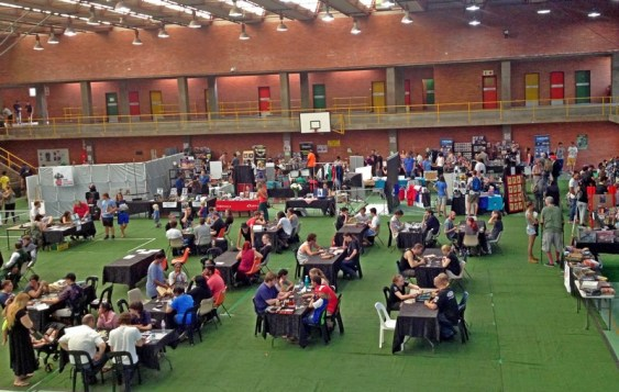 The packed demo boardgames play area on Saturday afternoon.