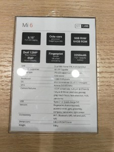 Xiaomi - Mi 6 Specifications