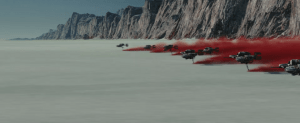 The battle on Planet Crait between the First Order and Resistance
