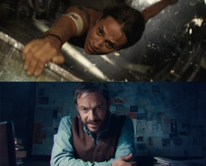 Alicia Vikander (Lara Croft) & Lord Richard Croft (Dominic West) in Tomb Raider 2018