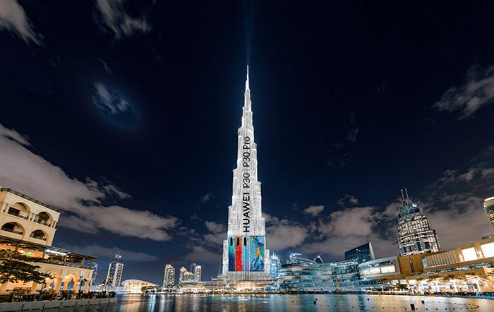 Burj-Khalifa-lights-up-during-the-HUAWEI-P30-Series-Regional-launch-in-Dubai