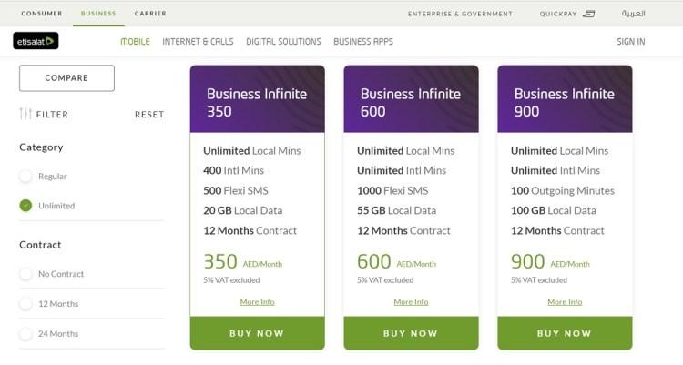 Etisalat-Business Infinite plan UAE