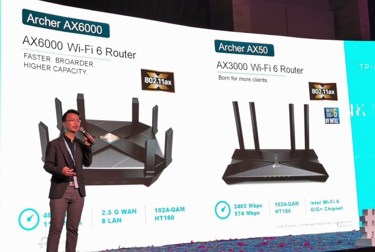 Ricky Li showcasing the features of the Tp_Link Archer AX6000 & AX3000 Wi-Fi Routers