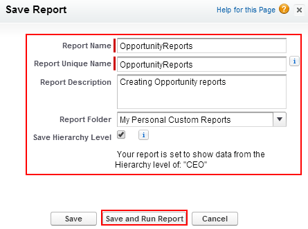 Creating custom reports in salesforce