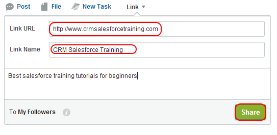 adding link in Salesforce chatter
