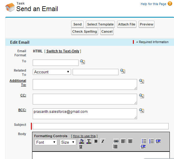 Creating Send an Email Button on the Home Page