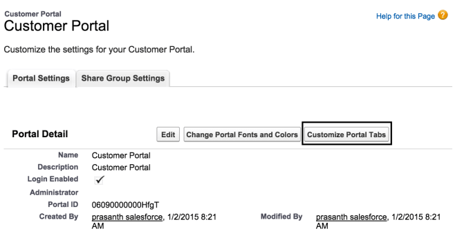 customizing salesforce customer portal tabs
