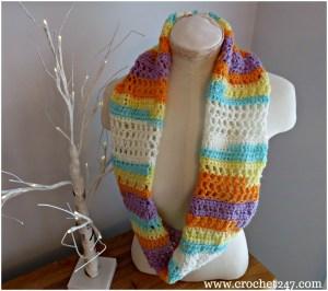 Banana Split Ice Cream Cowl Crochet Pattern from Crochet 24/7