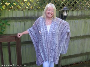 Ocean Kiss Autumn Ruana crochet pattern from Crochet247