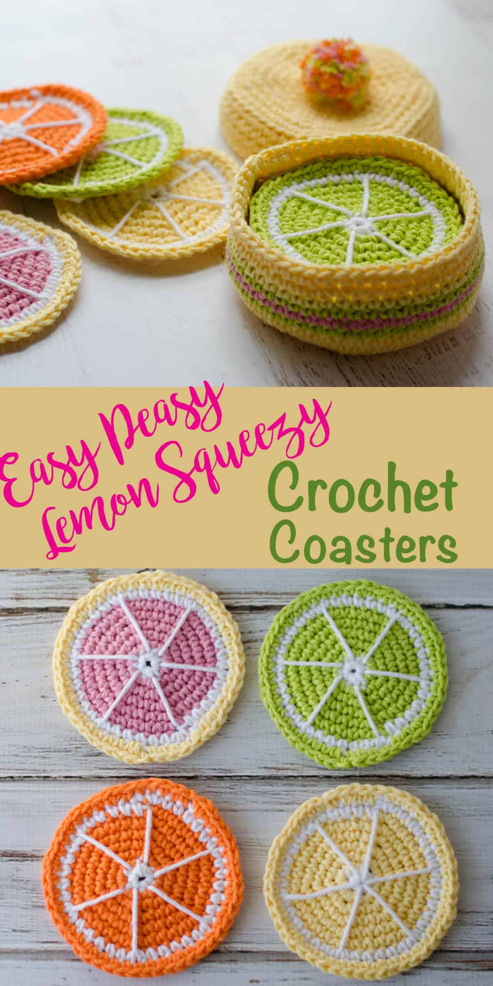 Free crochet coasters pattern for lemon coasters. Love these! So cute! Easy and free crochet pattern!