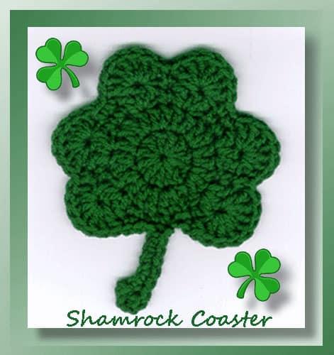 Crochet shamrock coaster