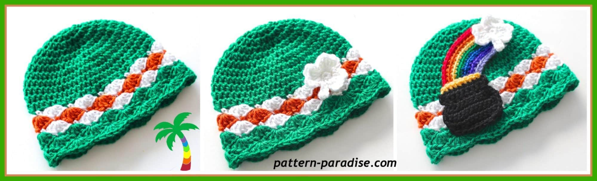 St Patrick's Day hat with pot of gold appliqué.