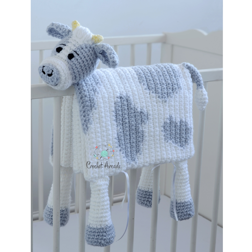 Cuddle and Play Cow Baby Blanket Crochet Pattern