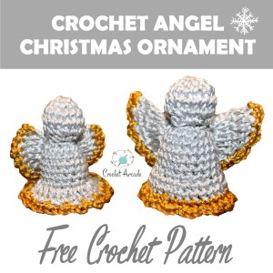 Two Small Crochet Angel Christmas Hanging Ornaments Poster