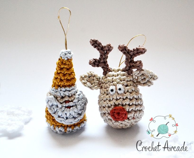 Crochet Reindeer and Crochet Santa Claus Christmas Ornament Free Crochet Pattern
