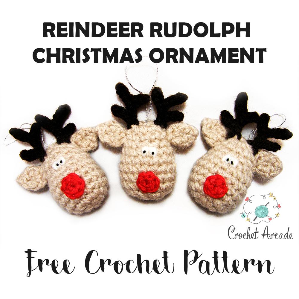 Three Crochet Reindeer Ornament Free Crochet Pattern poster