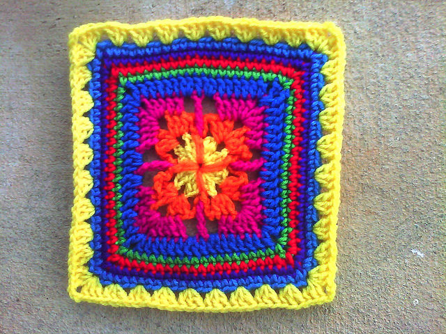 multicolor crochet granny square