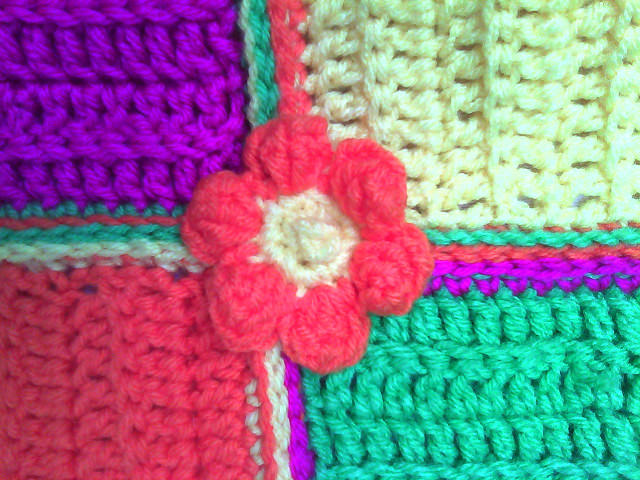 crochet flower appliqué