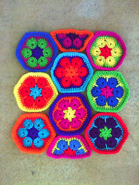 african flower crochet hexagons
