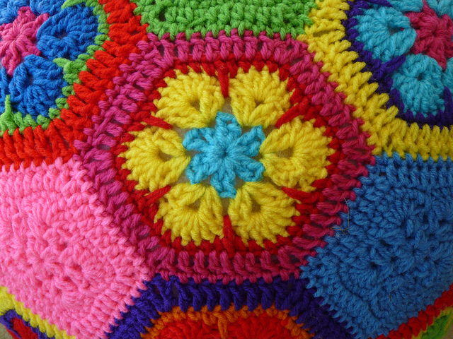African flower crochet hexagon