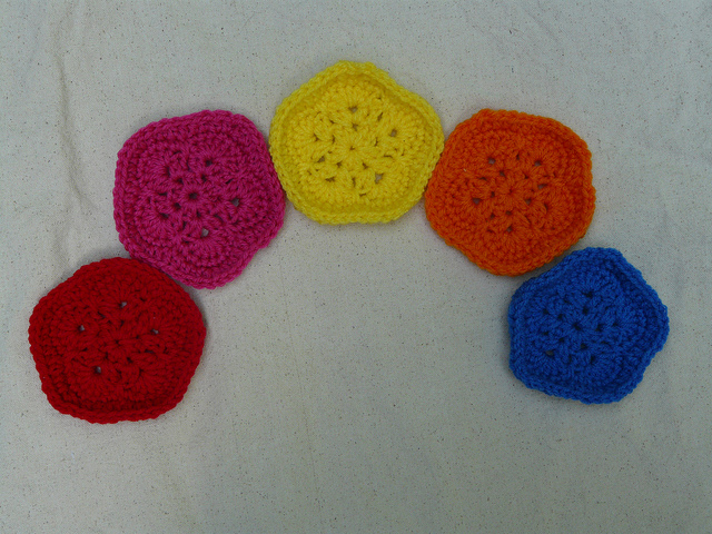 Five African flower crochet pentagons