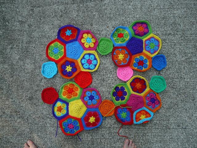 Crochet soccer ball hexagon and pentagon motifs