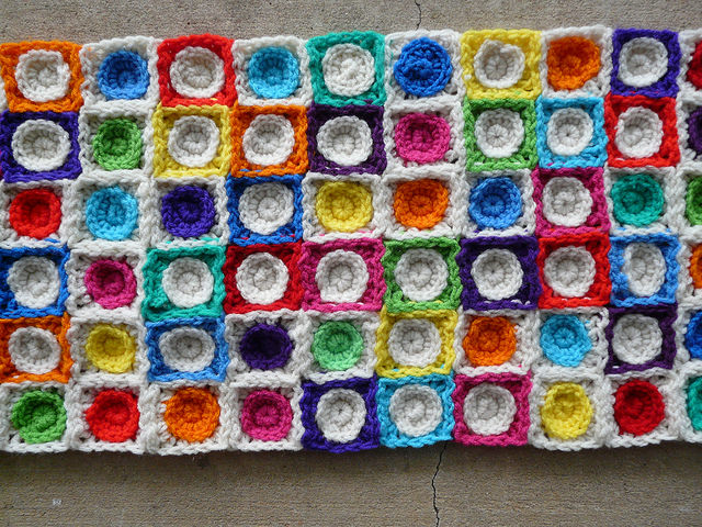 Hilbert Curve made from crochet squares