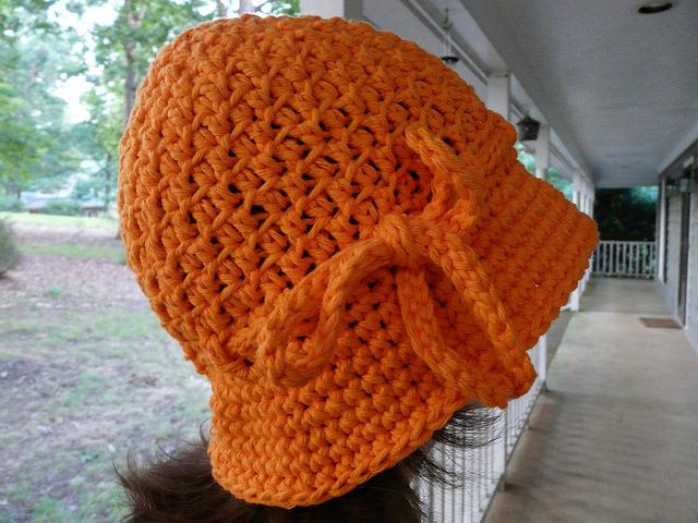 textured crochet cloche
