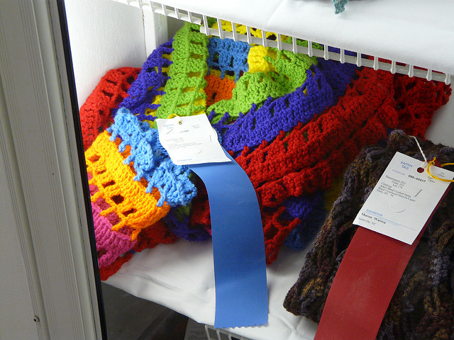 2010 North Carolina State Fair, crochetbug, crochet circles, crochet circle jacket, crochet jacket, crochet sweater, crochet rainbow