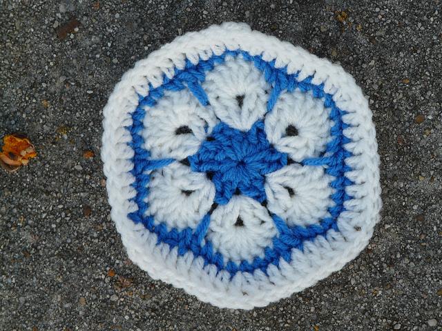 crochetbug, african flower crochet hexagon, crochet flower, crochet soccer ball, crochet ball, duke university, duke blue