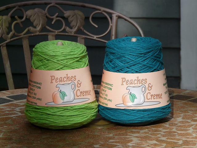 crochetbug, worsted weight yarn, cotton yarn, teal, green, verde, vert, yarn stash
