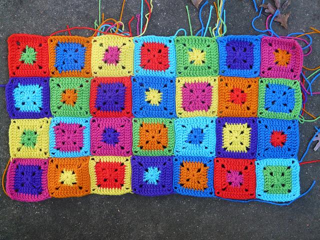 crochetbug, crochet squares, crochet color permutations, crochet blocks, granny squares, crochet cat runner