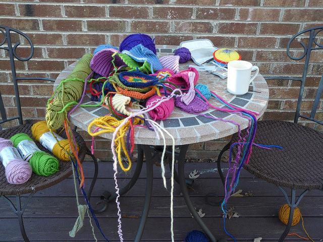 crochetbug, crochet office, plein air crochet, crocheted, crocheting