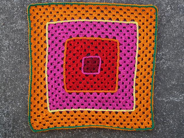 psychedelic crochet granny square