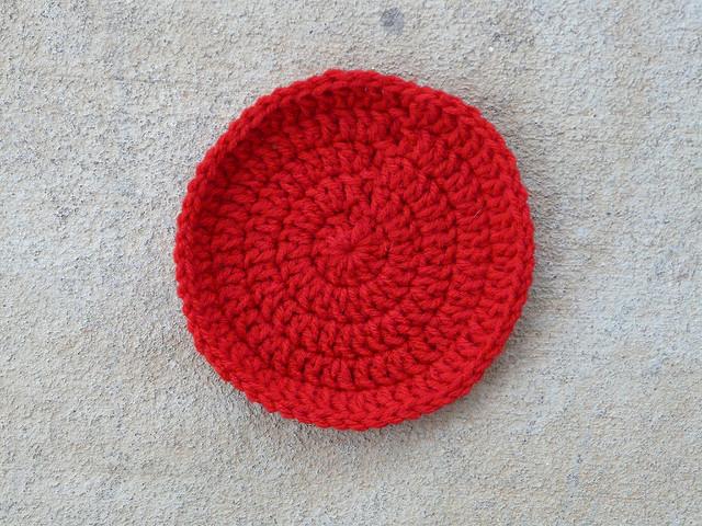 cherry red crochet circle