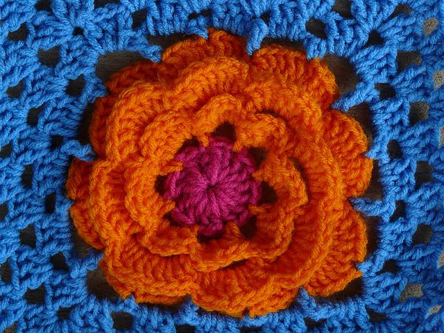 detail of a crochet flower motif