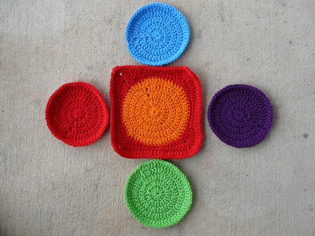 Five crochet circles