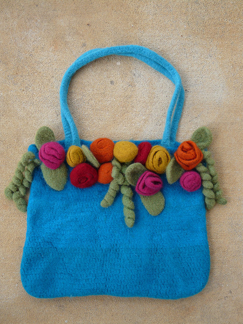 felted crochet tote