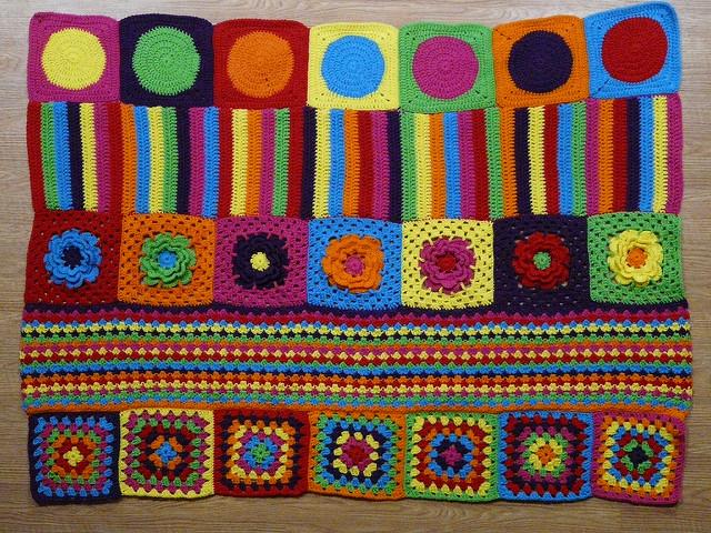 multicolor crochet blanket assembled